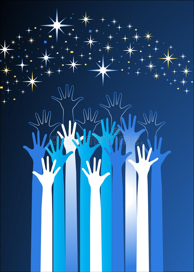 Hands reaching for the stars royalty free illustration