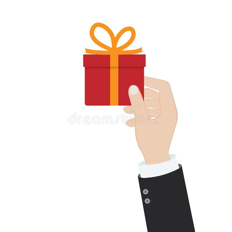 Hands with red gift box with opaque bow. Vector illustration in a flat style on a green background stock illustration