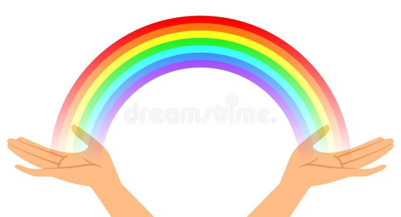 hands regnbågen vektor illustrationer