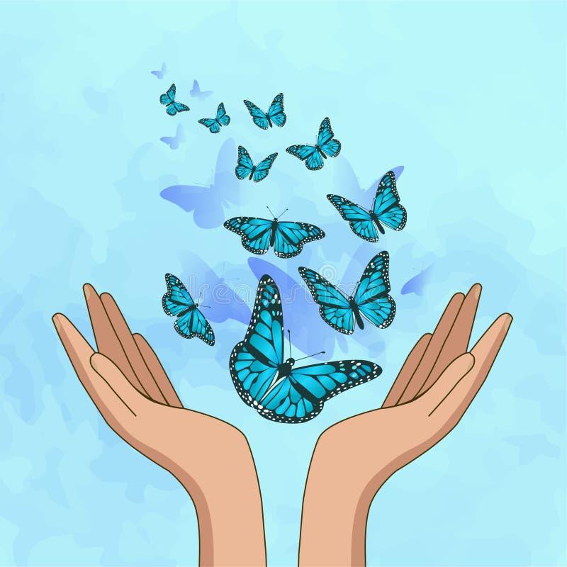 Hands releasing amazing turquoise butterflies. Vector illustration vector illustration