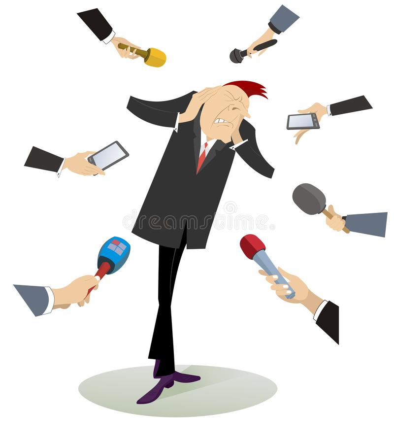 Mass media and tired and upset man illustration. Hands of reporters with microphones surround the tired and upset man who puts arms on the head and does not want vector illustration