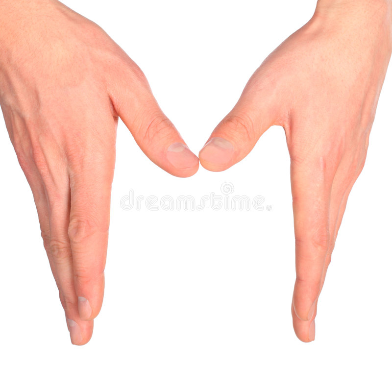 Download Hands represents letter m stock photo. Image of symbol - 9158764
