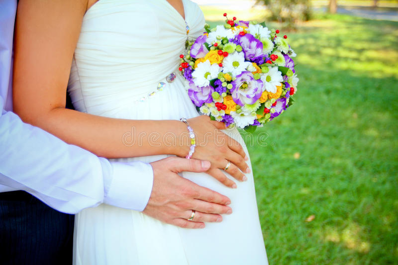 Download Hands With Rings And Bouquet Stock Photo - Image: 38534928