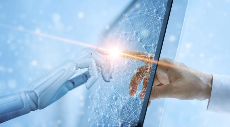 Hand of robot and human touching on global virtual network royalty free stock photography