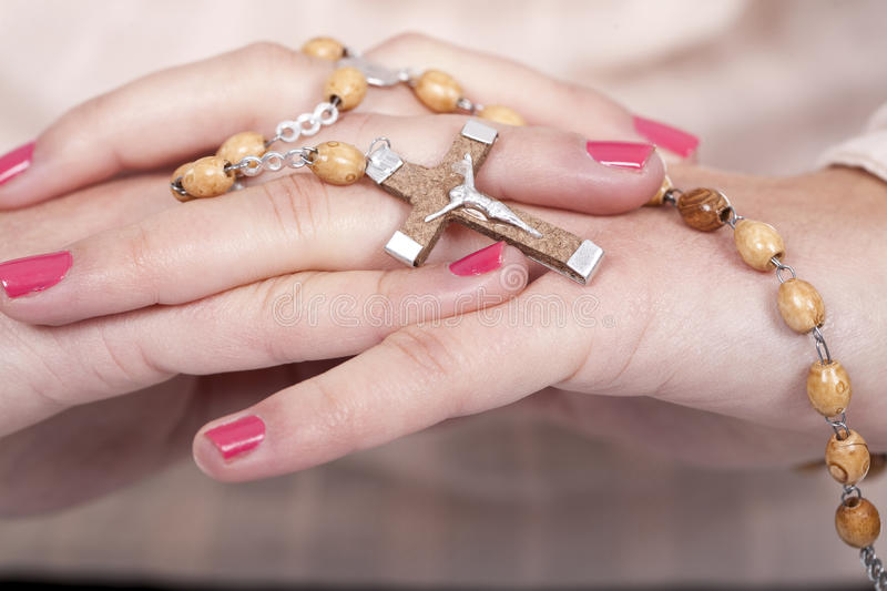 Download Hands with a rosary stock image. Image of isolated, eastern - 18208683