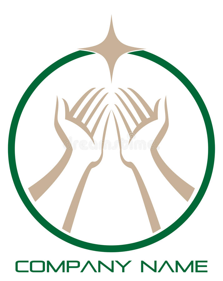 Hands save the nature. Illustration of helping on protecting hands to be used as logo