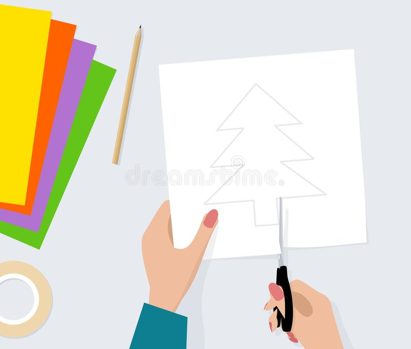 Hands with scissors cut out silhouette of fir tree from paper. Vector illustration. Female hands with scissors cut out silhouette of fir tree from paper. Vector royalty free illustration