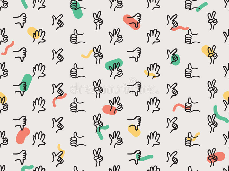Hands seamless pattern royalty free illustration