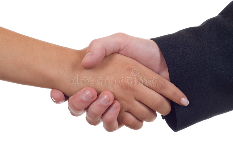 Hands shake stock image