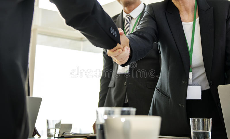 Hands Shake Agreement Diversity Conference Partnership royalty free stock photo