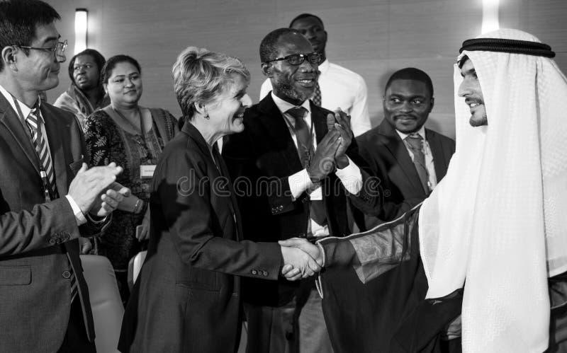 Hands Shake Agreement Diversity Conference Partnership stock image