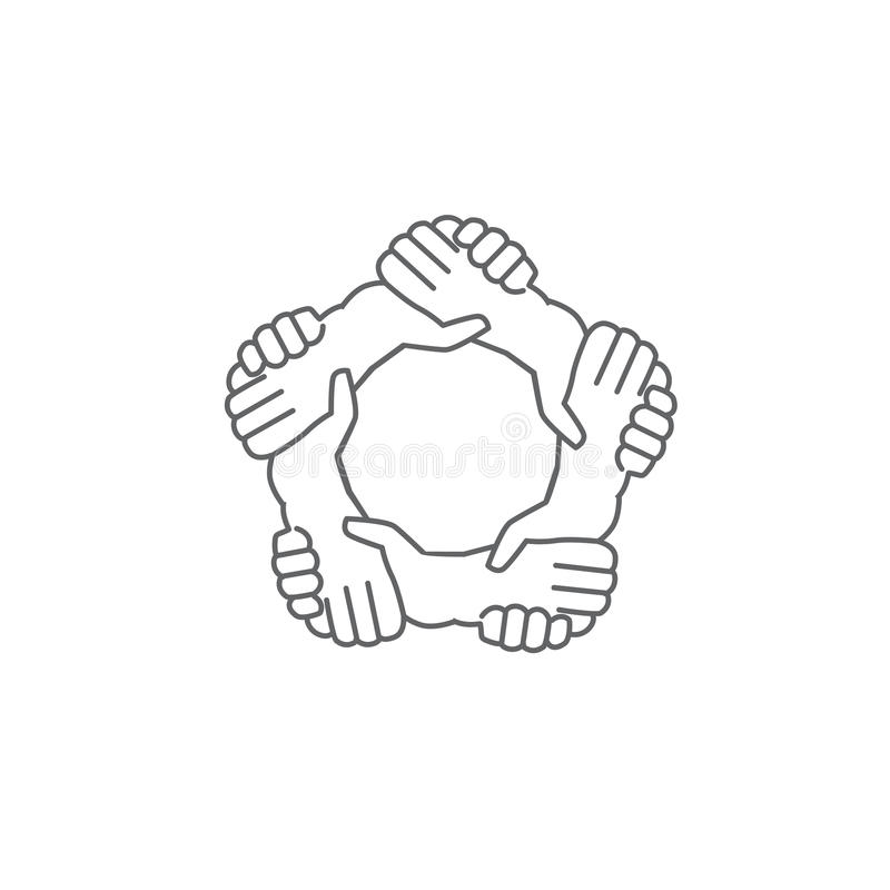 hands shaking hands a written in a pentagon shape stock image