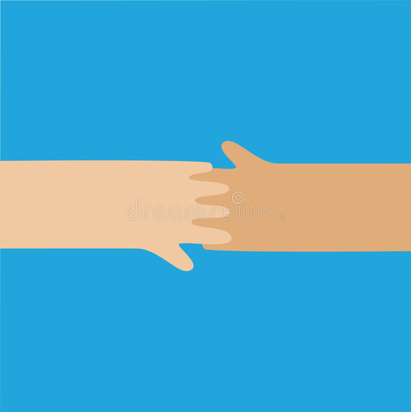 Hands shaking vector icon isolated. On blue vector illustration