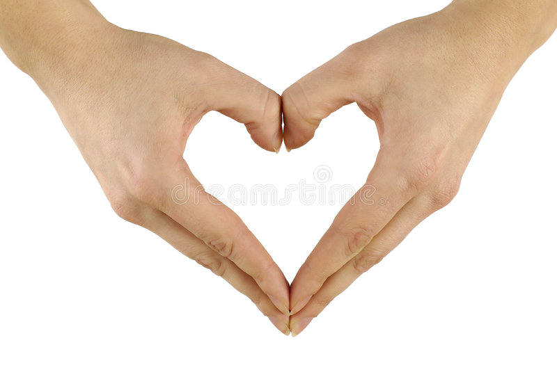 Hands shaping heart. Hands in the same of a heart