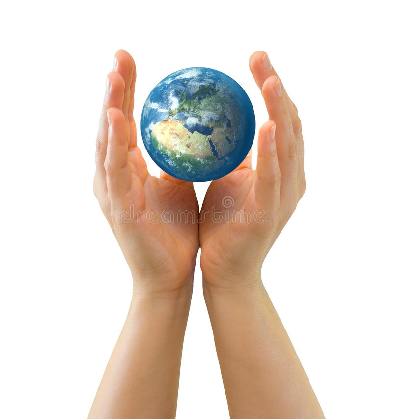 Download Hands Sheltering Tiny Globe Facing Europe Royalty Free Stock Photography - Image: 18480357