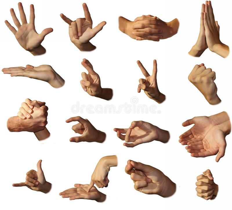 Hands show signs. Gesticulation. The different form of a hand royalty free stock image