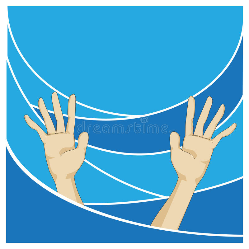 Hands Showing Over Blue Sea stock photography