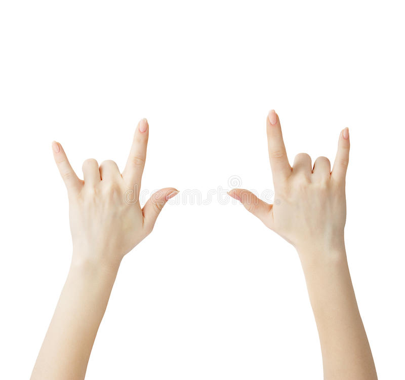 HANDS SHOWING ROCK ON SIGN stock images
