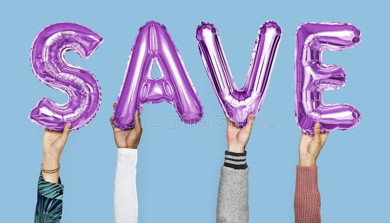 Hands showing save balloons word royalty free stock photography