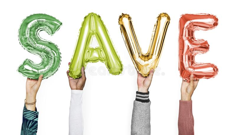 Hands showing save balloons word stock images