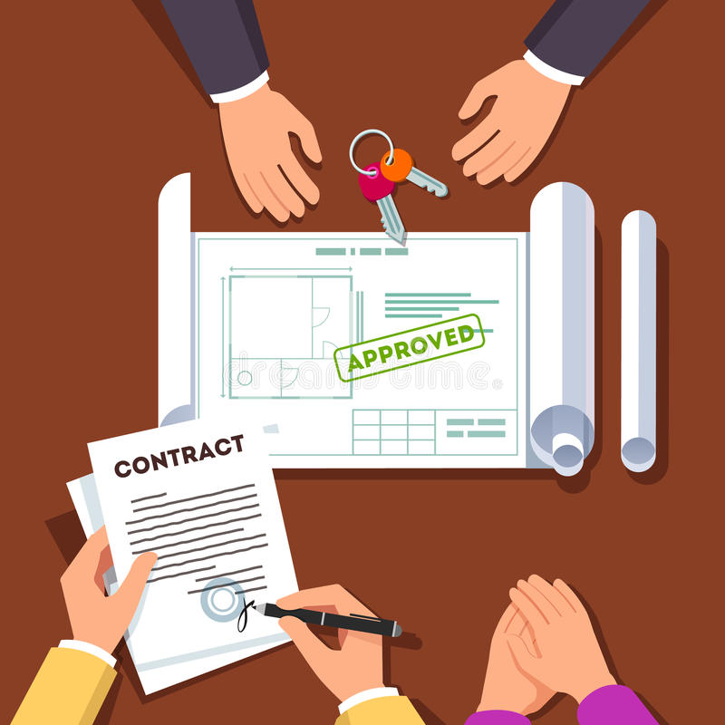 Hands signing house or apartment contract. Hands signing house or apartment renovation contract. Real estate agent giving key chain and showing approved floor stock illustration