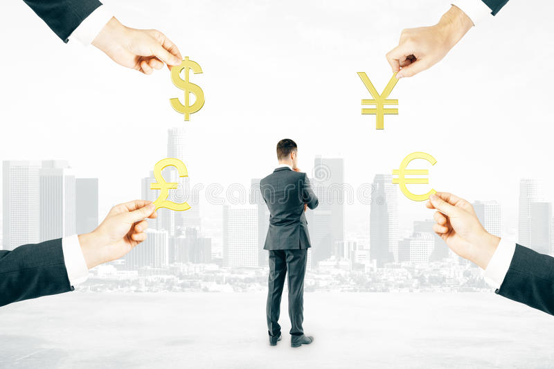 Hands with signs and businessman royalty free stock images