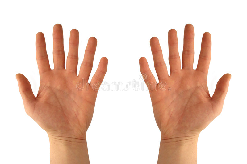 Hands with six fingers stock photo