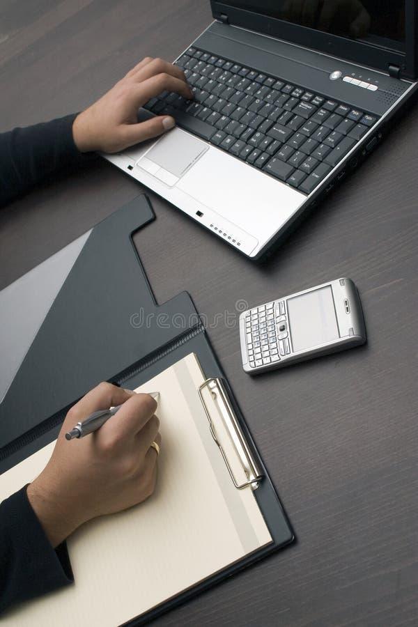 hands skrivande writing royaltyfri bild