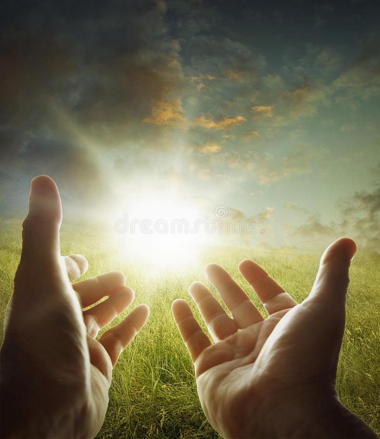 Hands in sky royalty free stock photo