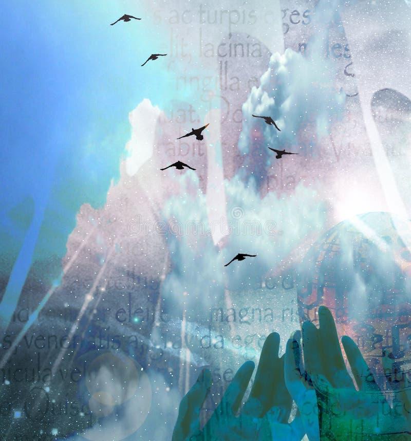 hands skyen vektor illustrationer