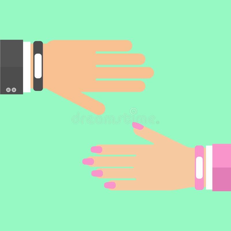 Hands with smart wristband bracelet stock illustration