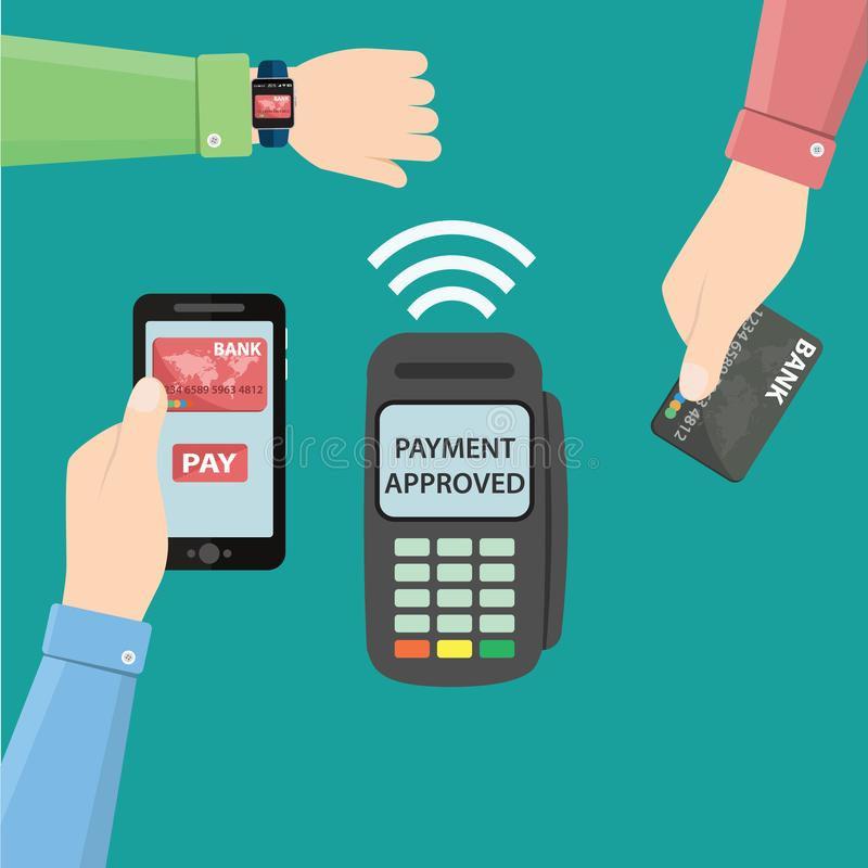 Hands with smartphone, smartwatch and bank card near POS terminal. Wireless, contactless or cashless payments, rfid nfc stock illustration