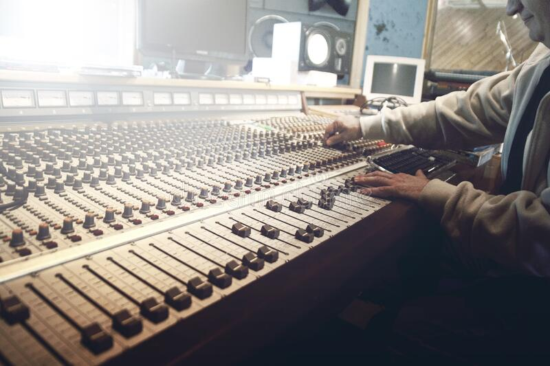 Hands on sound board royalty free stock photo