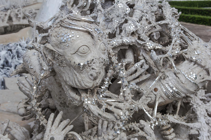 Hands Statue from Hell,Wat Rong Khun, Chiang Rai province, royalty free stock photos