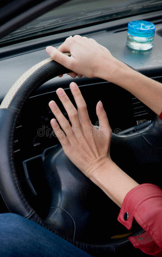 Hands On Steering Wheel Royalty Free Stock Photography