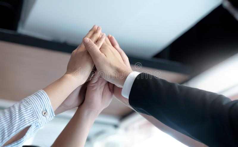 Hands of success startup business teamwork. stock images