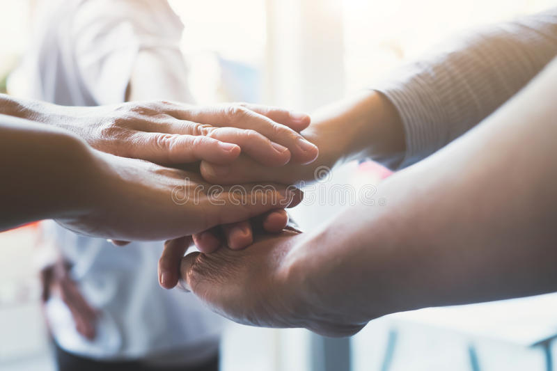 Hands of success startup business teamwork. royalty free stock image
