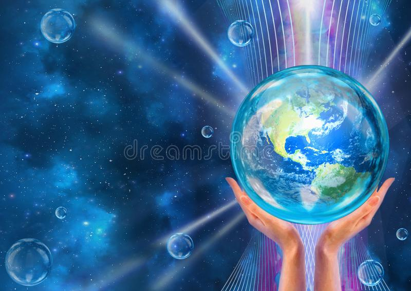 Hands support Earth in flow of life-giving energy. Hands support Earth in the flow of life-giving energy. Conceptual artwork. Saving Earth concept royalty free illustration