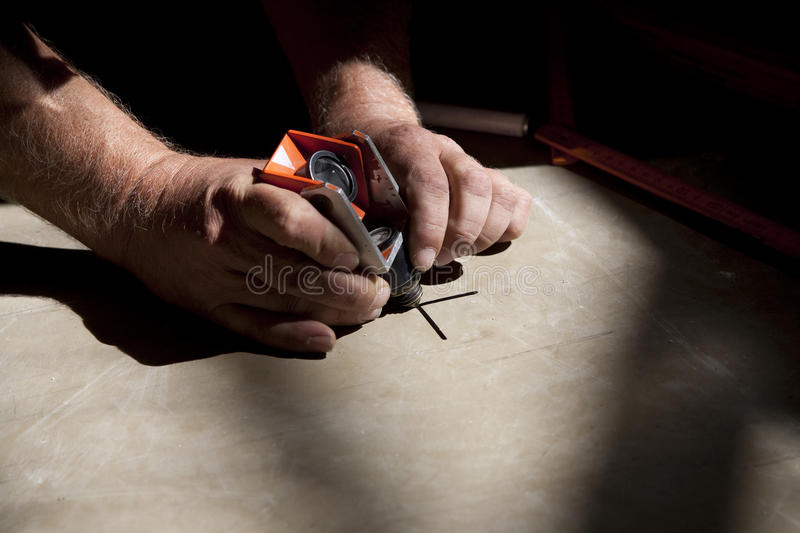 Download Hands Of A Surveyor Positioning A Small Reflector Stock Image - Image of geodetical, setting: 11268921