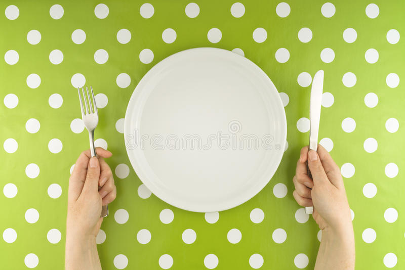 Hands At The Table With Empty Set Stock Image - Image of european ...