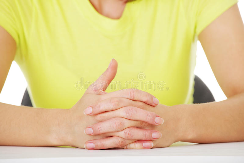 Download Hands On Table With Intertwined Fingers Stock Photo - Image of meeting, formal: 26180012