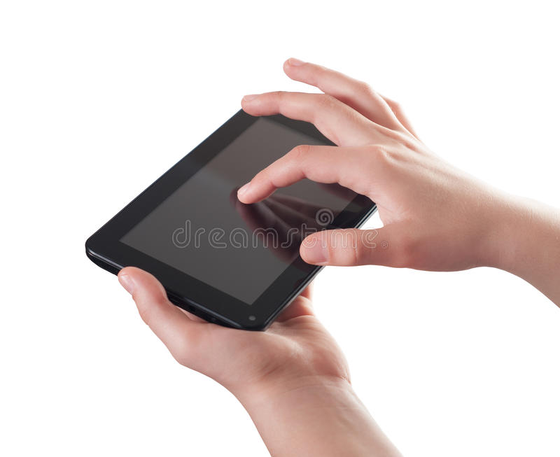 Hands with tablet computer royalty free stock photo