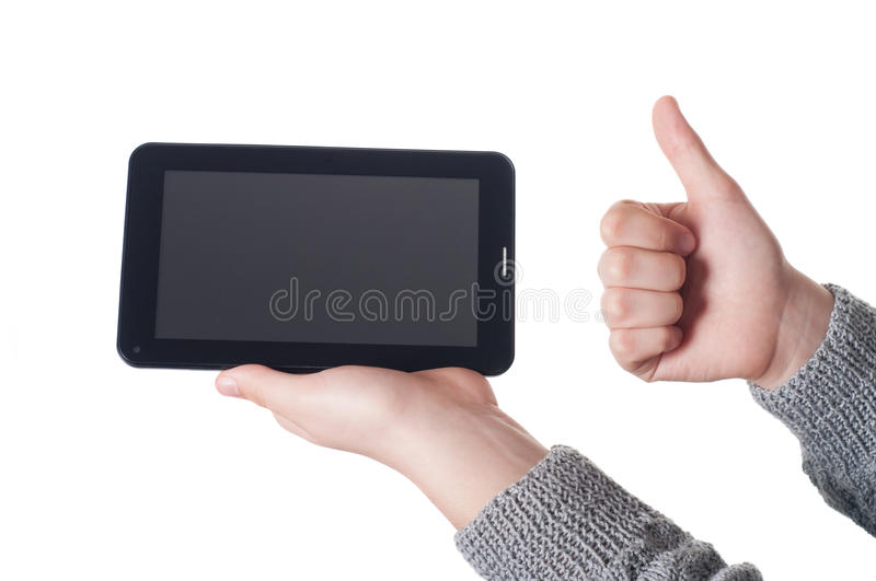 Hands with tablet stock image