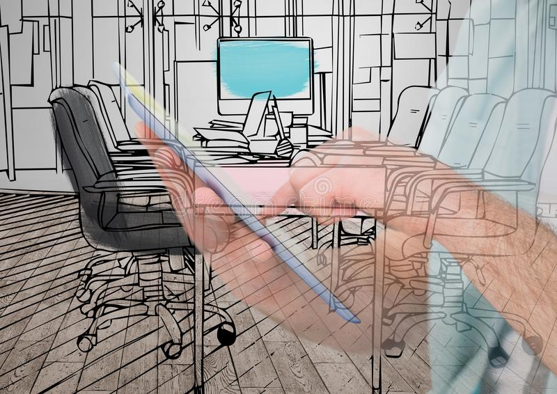 Drawing Lines In Office : Hands with tablet drawing on it the new office lines and overlap