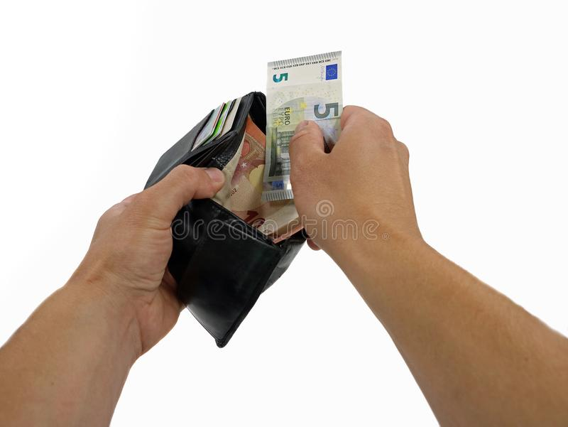 Hands taking out money from wallet in a first person view on white background royalty free stock photo