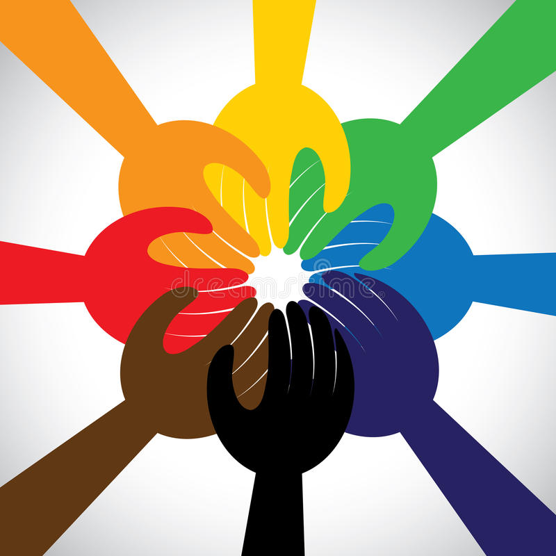 Hands taking pledge, promise - concept vector. Group of hands taking pledge, promise or vow - concept vector icon. This graphic in circle also represents unity stock illustration