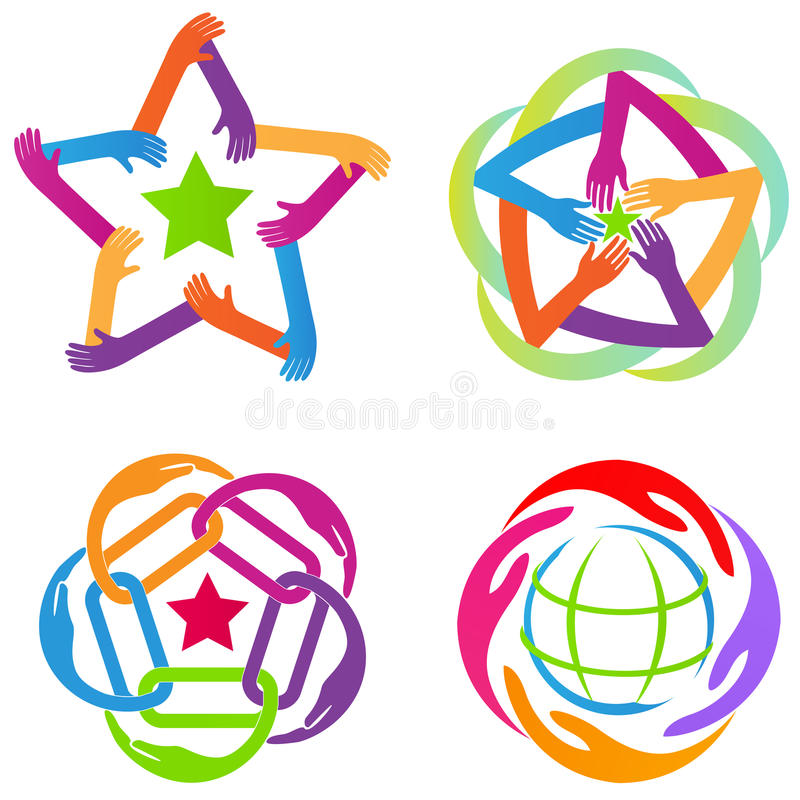 Teamwork, hands, star, logo, diversity, partnership, unity, global friendship, business, corporate media symbol vector design. Teamwork hands star logo royalty free illustration