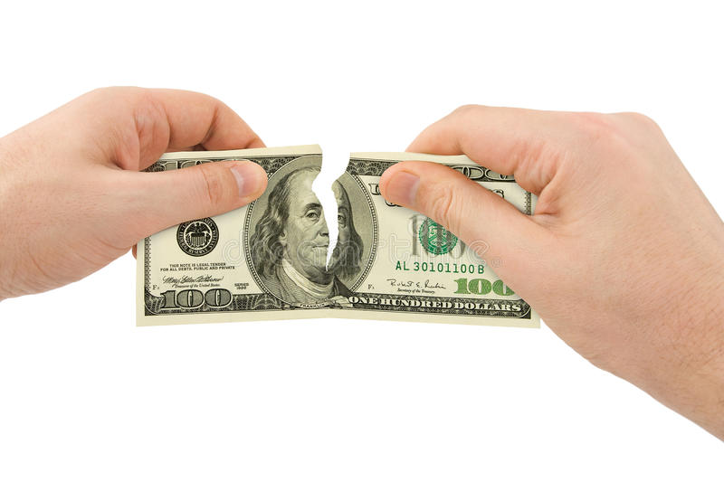 Hands tear money royalty free stock image
