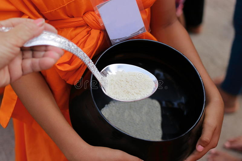 Hands of Thai people put food offering in Buddhist monk`s alms bowl in Songkran festival Day. Selective focus and shallow depth of royalty free stock images