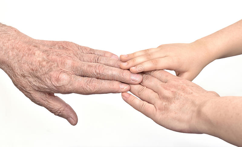 Hands of three generations stock photo
